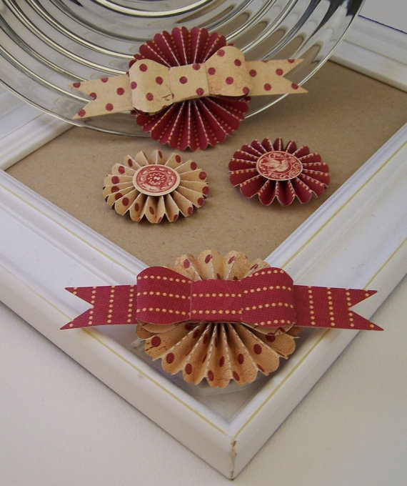 Paper rosettes with cute bows
