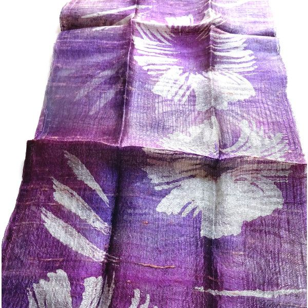 Purple Silk Scarf Hand Dyed Handwoven Light Weight Batik Natural Pure Raw Silk Wedding Accessories Handmade Wedding Gift For Her (€15) found on Polyvore featuring women's fashion, accessories, scarves and batik scarves