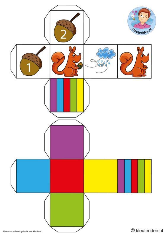 Eikelspel voor kleuters, dobbelstenen, thema herfst,  by juf Petra van kleuteridee, Preschool acorn game, dices, free printable.