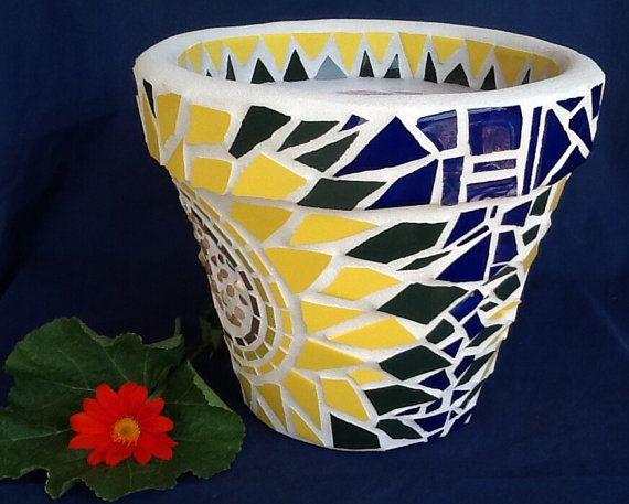 Mosaic Flower Pot / Planter Cheerful Sunflower By MosaicsByJoan