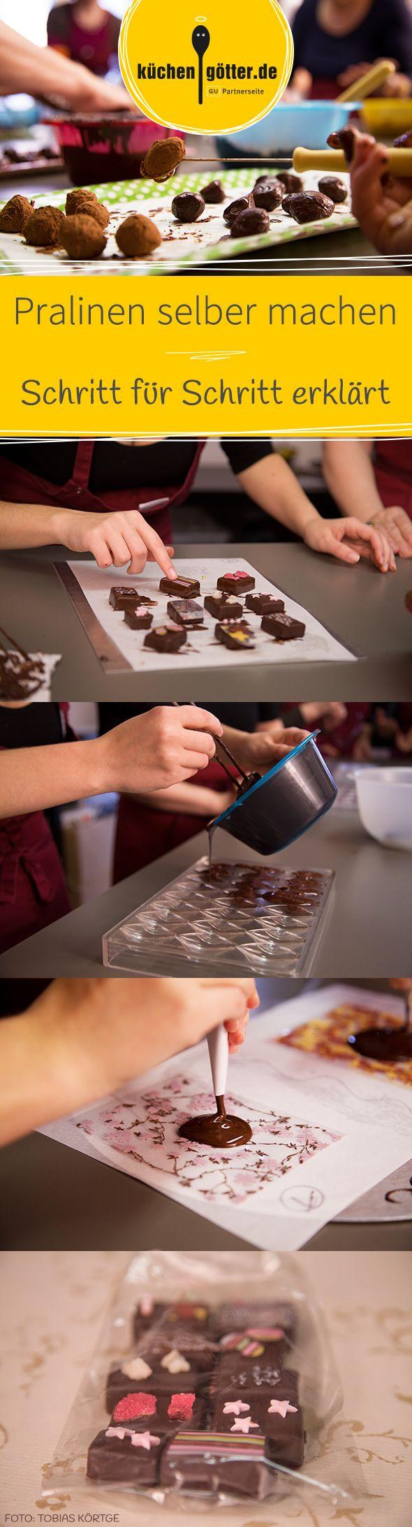 Ob raffiniert gefüllte Pralinen, bunt verzierte Schnittpralinen, feine Trüffel oder raffinierte Schoko-Lollies: Wir zeigen euch Schritt für Schritt, wie ihr Pralinen selber macht. Und tolle Pralinen-Rezepte verraten wir natürlich auch.