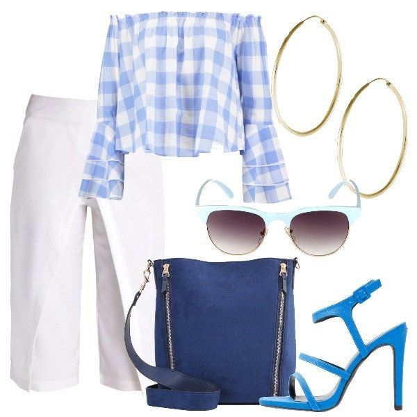 La camicetta in cotone a maniche lunghe e svasate è a quadri azzurri e bianchi. I pantaloni bianchi sono sormontati in vita e sembrano una gonna. La borsa a secchiello è blu effetto scamosciato con due cerniere sulla parte anteriore. I sandali, con tacco a spillo, sono blu cobalto ed hanno il cinturino alle caviglie. Gli occhiali da sole hanno la montatura azzurra e gli orecchini, infine, sono dei grandi cerchi color oro.