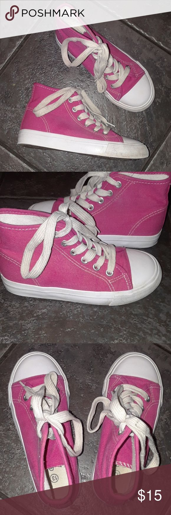Little Girls size 13 CONVERSE Like sneakers pink Smoke Free and clean home!  Bundle to save on shipping! Many girls clothes and shoes available to make bundles!  Little Girls size 13 pink high tops CONVERSE Like sneakers. Note: they are NOT CONVERSE.  Brand is EXTRMEMELY ME.  Gentle used condition. Extremely Me Shoes Sneakers