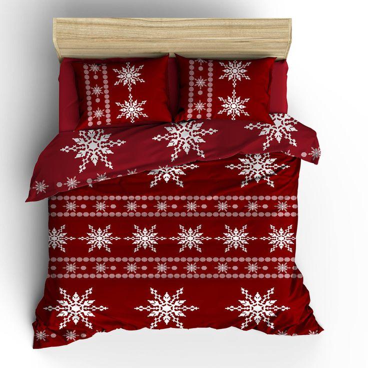 Povlečení s prostěradlem Red Snow, 200x220 cm | Bonami
