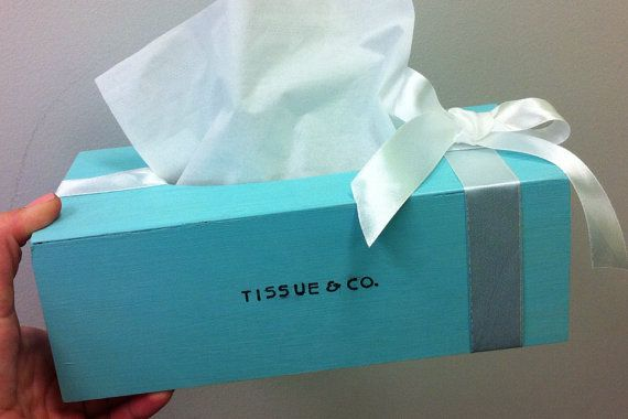 Nothing says Classy! like a Tiffany blue tissue dispenser. Much better than your average bathroom kleenex cover.