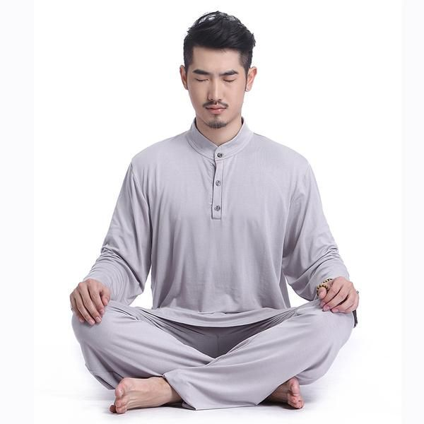FREE SHIPPING, Men's Yoga Clothing set summer long sleeve modal breathable yoga cloth fitness wearing set Buddhist meditation men's yoga wear