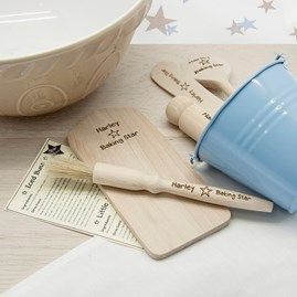 Personalised gifts, friendship gifts, children's gifts, Christening, wedding gifts with free delivery over £30 from Nest. Baking set for children. Four different colour choices for the pot - red, blue, pink and white.