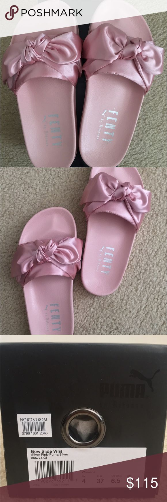 Puma Fenty Bow Slides by Rihanna Pink Puma Fenty Bow Slides by Rihanna sz 6.5 in women. Never worn. It's too small for me unfortunately. The Pink colored Bow Slides are sold out almost everywhere. Puma Shoes Slippers