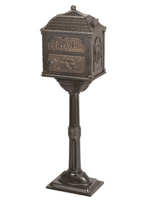 Gaines Mailboxes | Classic Pedestal Mailbox Package Bronze with Antique Bronze | Residential Mailbox