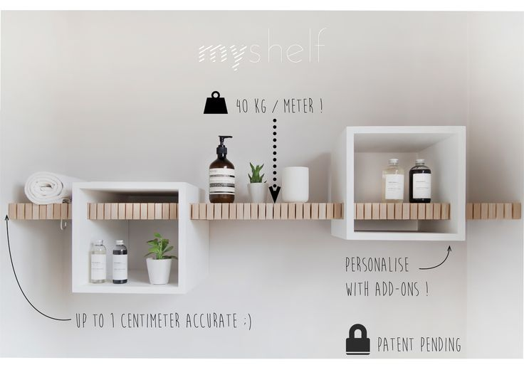 MYSELF by ANOUK a patent pending shelf - adjustable in length- so it always fits between two walls