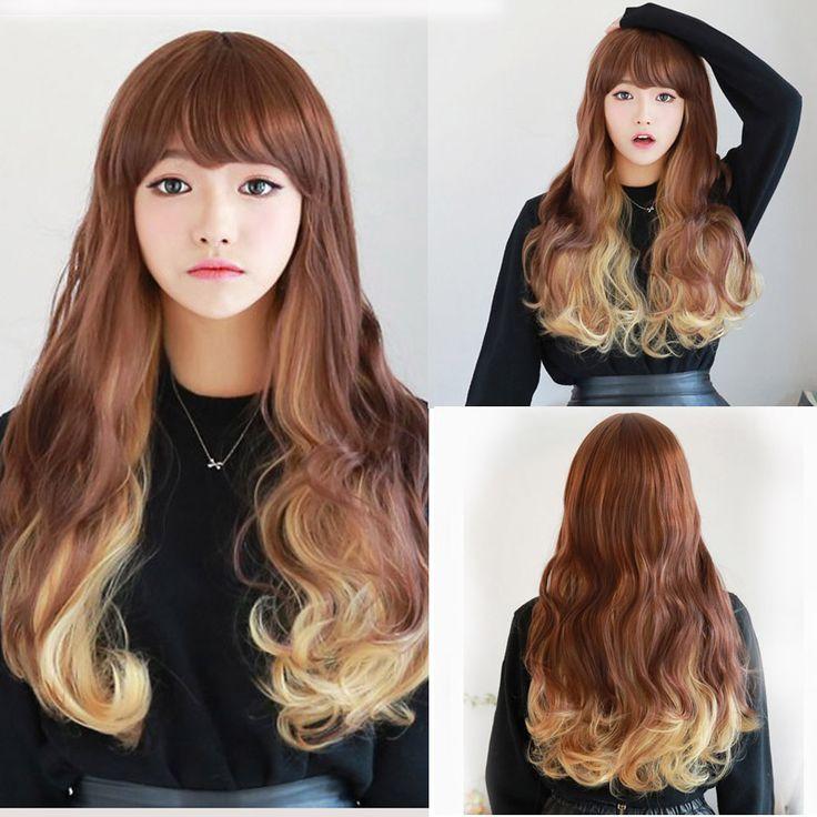 70 cm Mode Sexy Panjang Keriting Bergelombang Cosplay Wanita Wig Rambut Poni Wig Gadis Hadiah Coklat Kuning Ombre