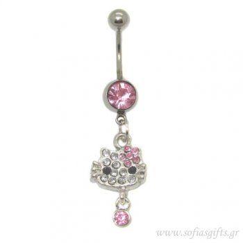 Piercing Κοιλιάς Hello Kitty ροζ με στρας  body piercing