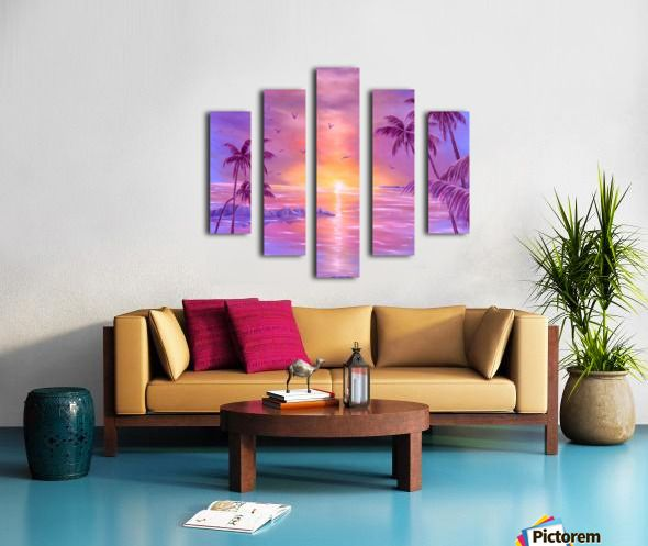 Spring, seascape, sunset, purple, lavender, mauve, fine art, oil painting, decor items, polyptych, 5 split, stretched, canvas, multi panel, prints, for sale