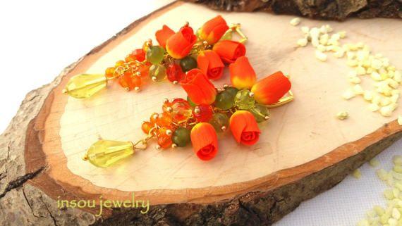 Flower Earrings Tulip Earrings Tulip Jewelry by insoujewelry