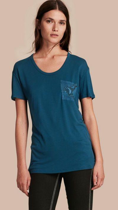 Mineral blue Python Print Detail T-Shirt 1