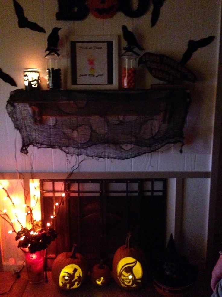Halloween fireplace decorations holiday crafts pinterest for How to decorate your fireplace for halloween