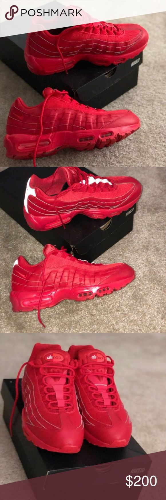 Nike air max 95 Nike ID (exclusive) red edition❗️ Great condition comes with box Nike Shoes Sneakers