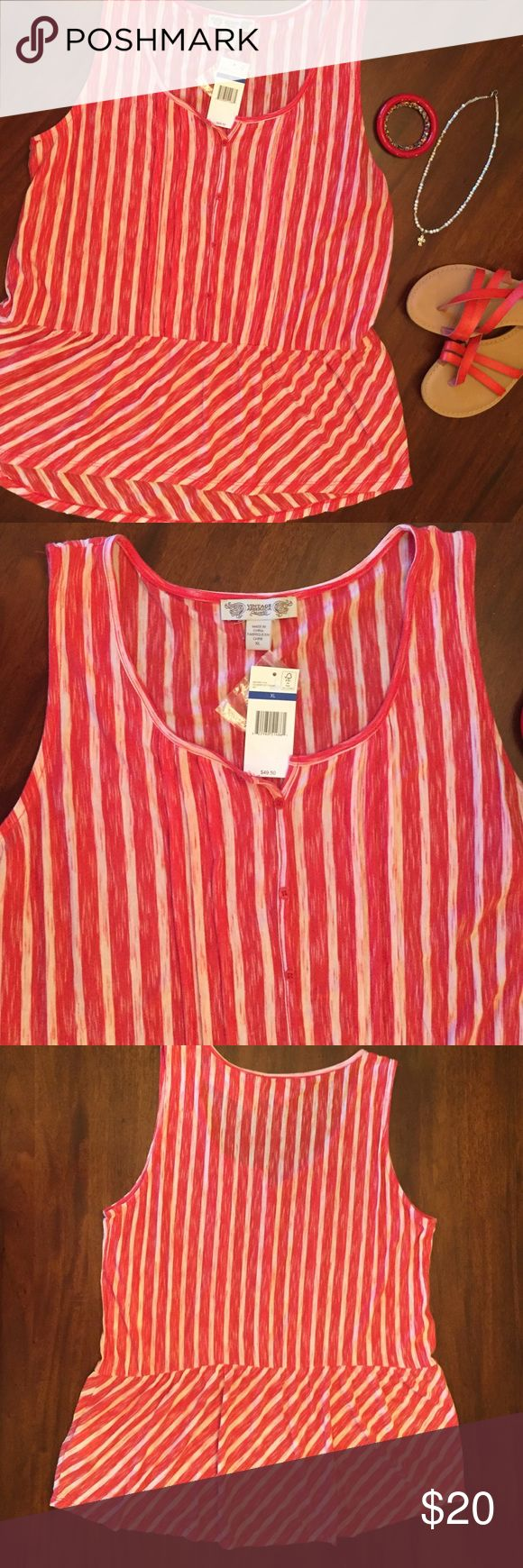 "NWT Cute red and white tank NWT Vintage America Blues red and white sleeveless tank with tucks and buttons on front and peplum bottom. Would be cute with blue bandeau or tank underneath. Made of 59% polyester- 41% viscose. Measures 20"" pit to pit and approx 27 1/2"" in length. Vintage America Blues Tops Tank Tops"