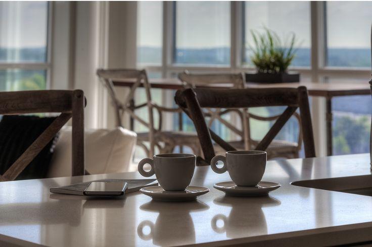 Open concept kitchen with views. Luxury condo. Guelph, Ontario.