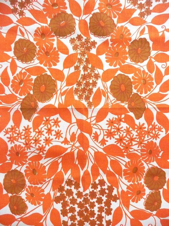 Vintage New Rodriquez Orange Floral Tea Towel