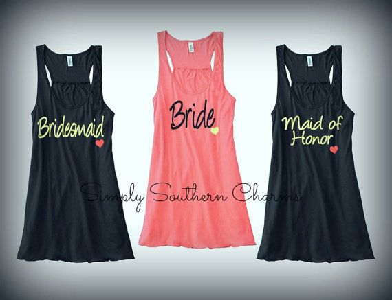 4 Personalized Wedding Party Flowy Racerback Tank Tops, Bridesmaid Shirts, Bachelorette Party Tank Tops, Maid of Honor Shirt, Bride Tank Top on Etsy, $112.00