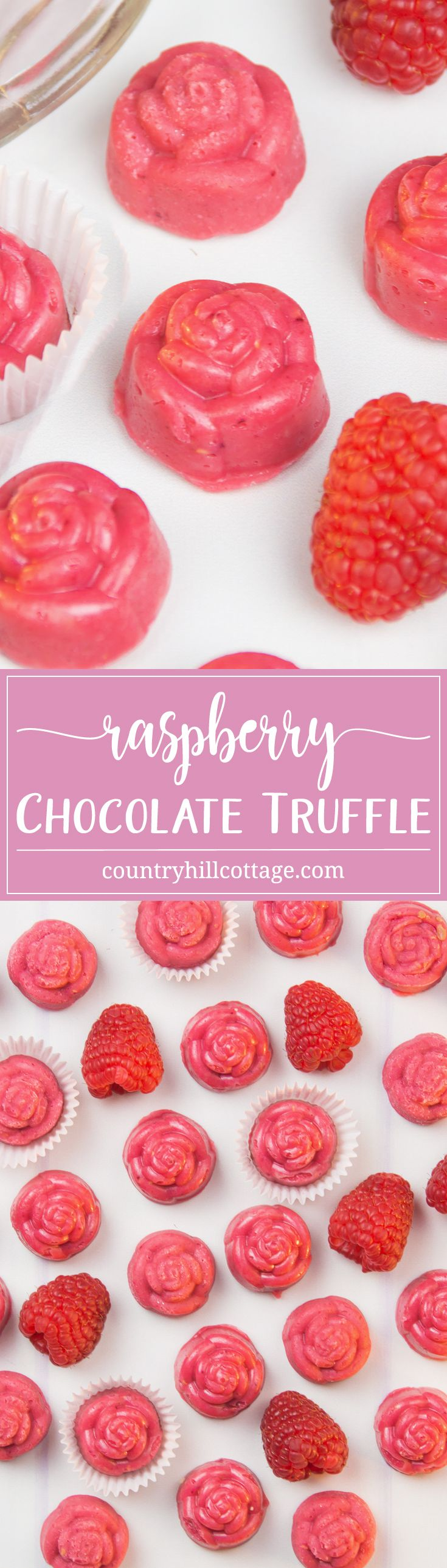 These homemade raspberry chocolate truffles are packed with flavour and look pretty as DIY food gift! Get the recipe for these sweets and 3 more quick and easy chocolate truffle recipes at our blog. #truffle #chocolate #foodgift   countryhillcottage.com