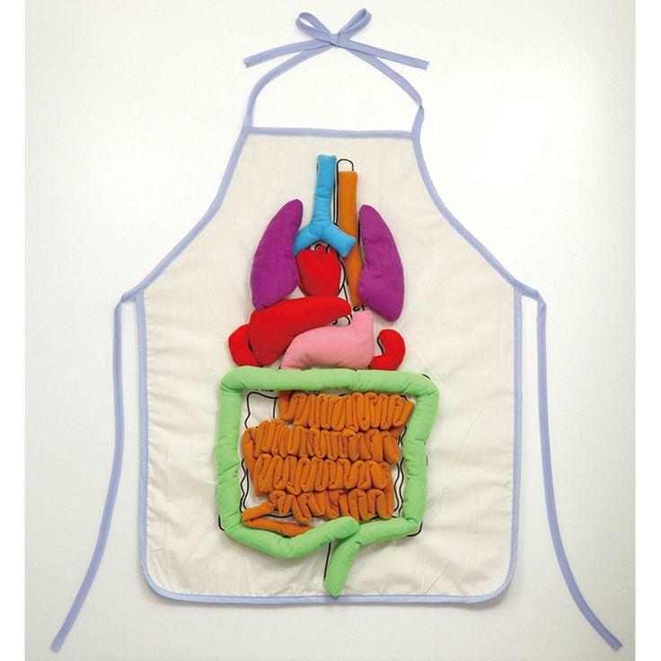 Doe eens een schort om met je ingewanden. Je kunt de organen eraf halen en de darm is op werkelijke lengte.