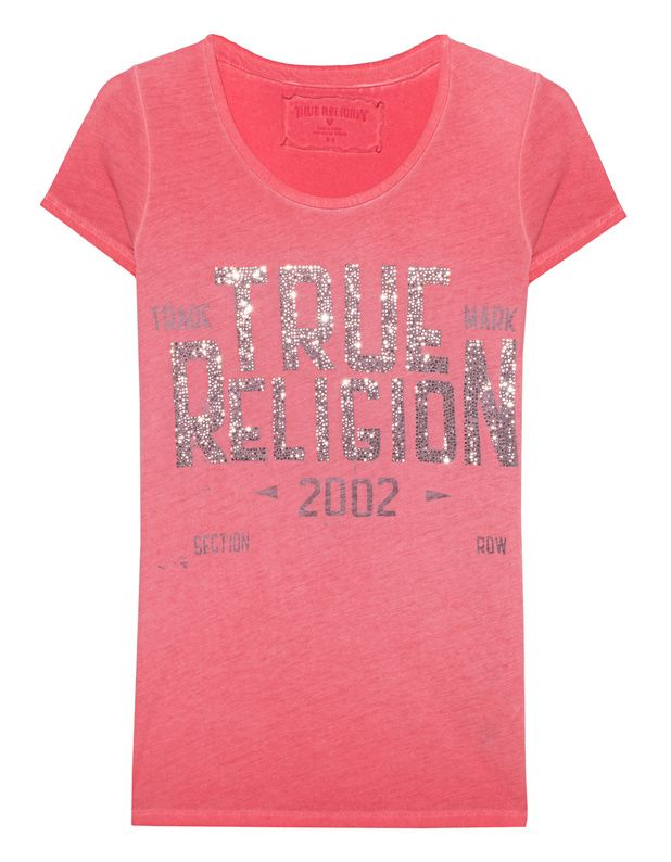 T-Shirt mit Strasssteinen Dieses rote figurbetont geschnittene Jersey-T-Shirt kommt im Washed-Out Finish mit trendigen Inside-Out-Ziernähten, Rundhalsausschnitt und Label-Schriftzug aus Strasssteinen auf der Front.  Eine cooles Basis für lässige Alltags-Looks!