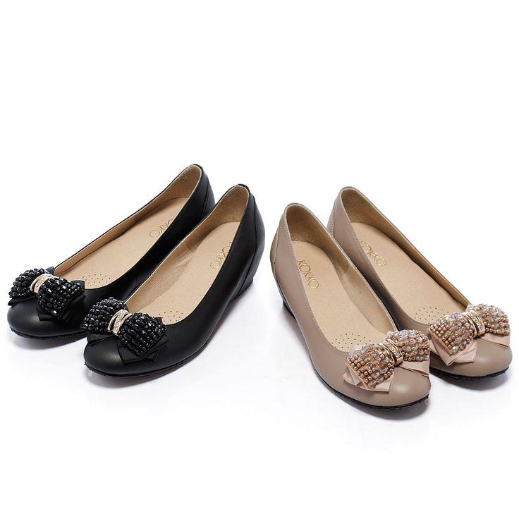 1840通勤OL‧立體蝴蝶結內增高羊皮楔型鞋 - 粉藕 - 完售--5cm