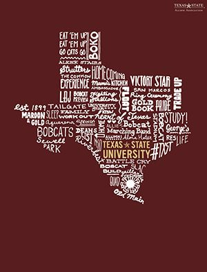 Texas State University Printable for Home or Office | https://alumni.txstate.edu/bobcat-pride/alumni-blog