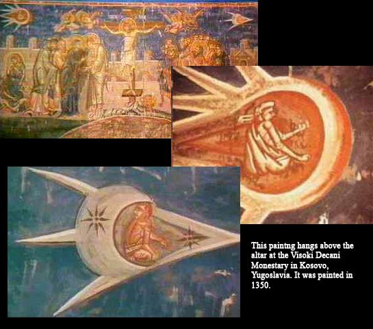 "Ancient Astronauts...these paintings depicting space crafts and air travel. Painted in the year 1350. Ecclesiastes 1:9 That which has been is that which will be, And that which has been done is that which will be done. So there is nothing new under the sun. Is there anything of which one might say, ""See this, it is new ""? Already it has existed for ages Which were before us.…:"