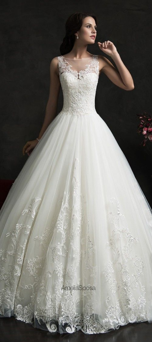 I adore the bottom of this gown. Stunning Amelia Sposa 2015 Wedding Dresses Collection | Weddingomania