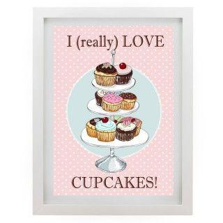 Quadro I Love Cupcakes poás rosa - Col. Exclusiva
