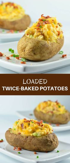 Loaded Twice-Baked Potatoes are a delicious side dish or satisfying light meal. Loaded with bacon, cheddar cheese, and green onions, they're hearty, delicious and guaranteed to a be a family favorite!