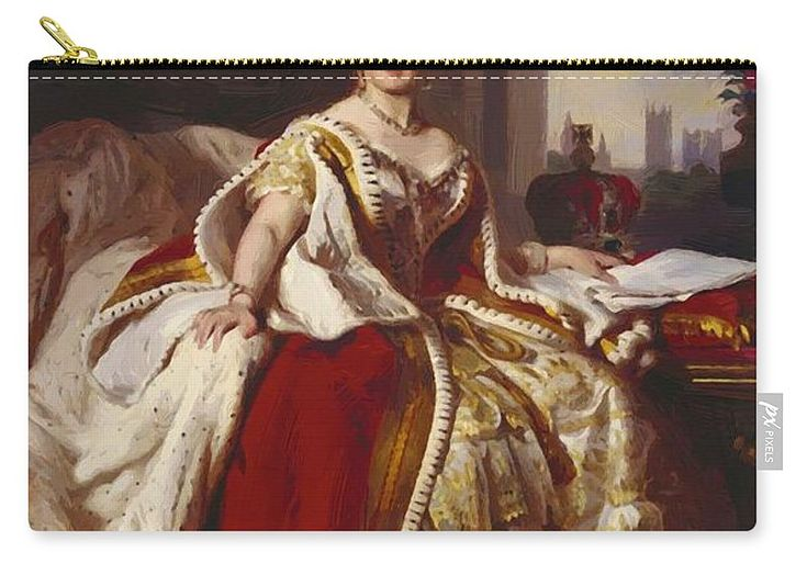 Queen Carry-all Pouch featuring the painting Queen Victoria 1859 by Winterhalter Franz Xaver