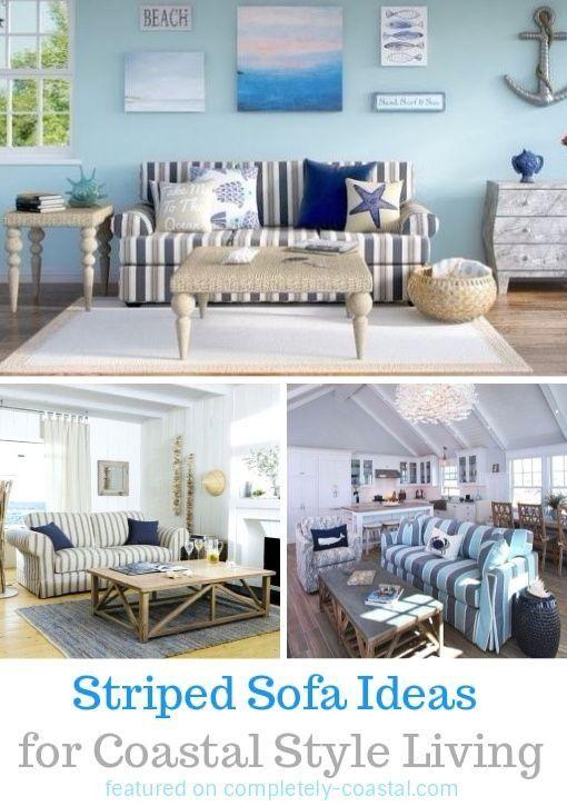 Striped Sofa Ideas For Coastal Living Room Design Decor Sofas With Nautical Stripes And Beach Cabana Easy Breezy