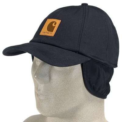 Carhartt Caps: Workflex Canvas Ear Flap Cap A199BLK