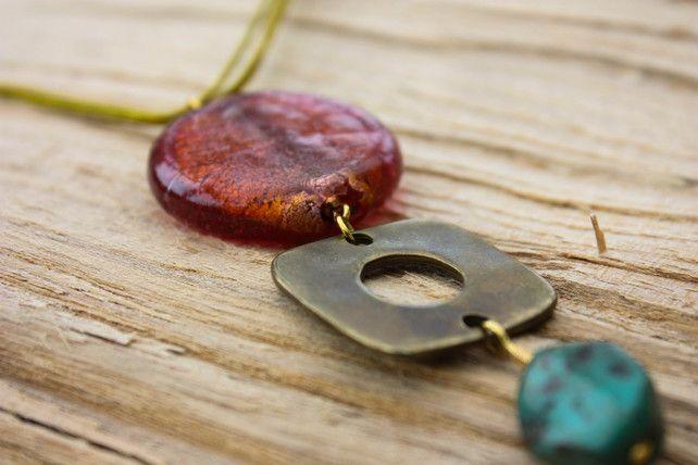 Italian Orange Glass Disk, Antique Gold Square with Turquoise Bead Pendant £22.00
