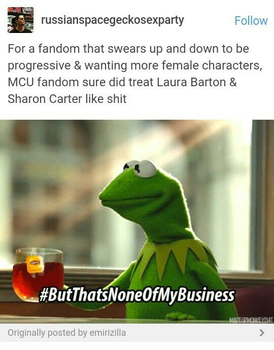 Seriously tho. Like I don't really agree with Sharon and Steve ship,  (but it's cute)but by herself and also Laura, those two are badass. Like, having Hawkeye as a husband has him going out to save the world on multiple occasions. While also have two kids, and being pregnant with another. And having Peggy as your Aunt has you living up to certain expectations.