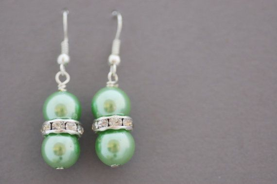 Green Glass Pearl Bling Earrings by CherryBlossomJewels0 on Etsy, £8.00