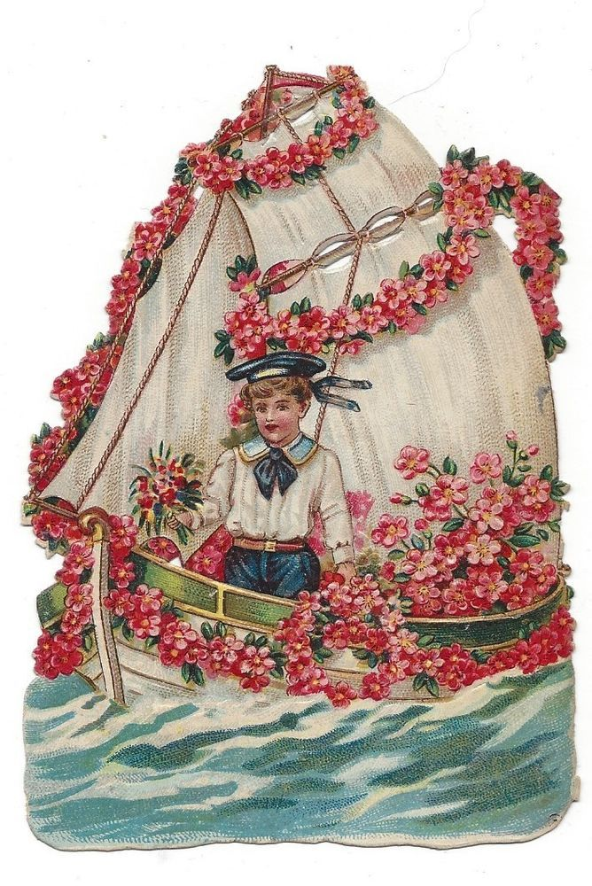 Victorian Die Cut Scrap of Boy Sailing