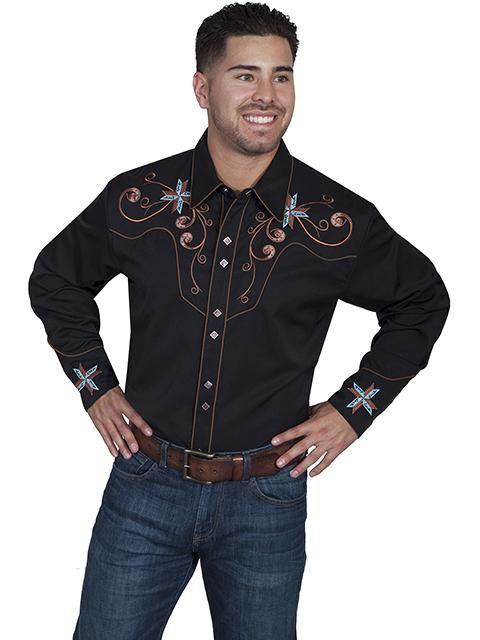 Scully black rayon blend scroll & cross embroidered western shirt-front