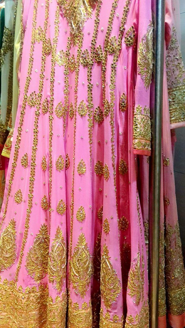 Gota patti handcrafted anarkali suit , pink anarkali ! Jaipuri suit