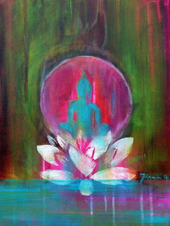 "Buddha ""Spirit of ZEN"" 12 x 16 ""  Buddha Lotus Om Yoga Zen Spiritual Art Meditation Fine Art Print on canvas"
