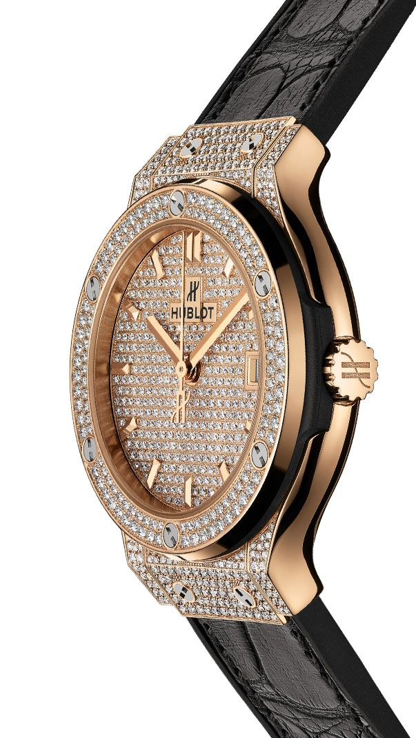 Emmy DE * #Hublot Classic Fusion King Gold Full Pavé #watch