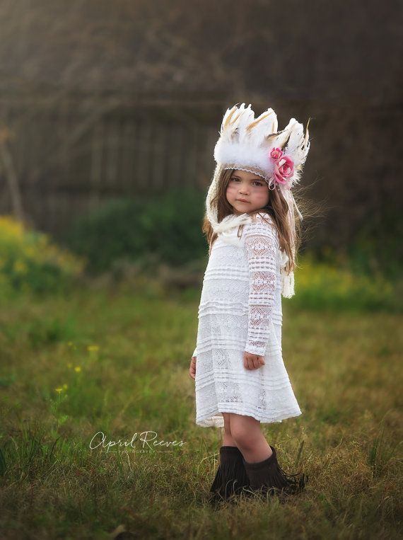 Infant/toddler/girls Indian feather Headdress by ScarletHarlow