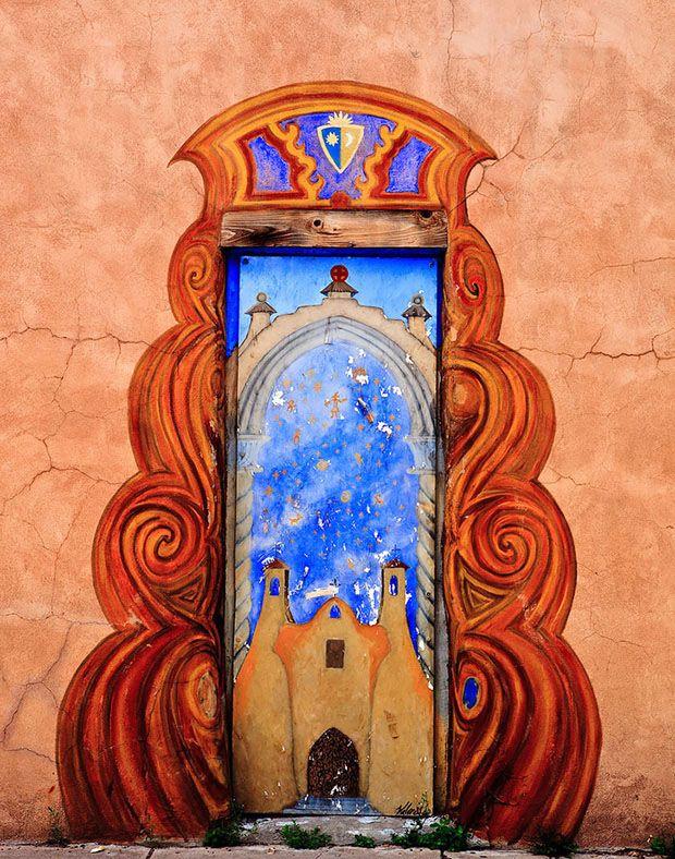 Porta em Santa Fé, estado do Novo México, USA.