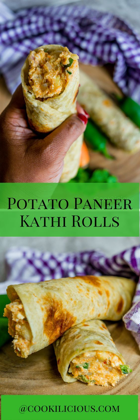 Delicious wraps or rolls stuffed with a spiced potato & paneer stuffing. These vegetarian kathi roll make for a good brunch, lunch or tiffin box. A chatpata snack that is filling & easy to make.