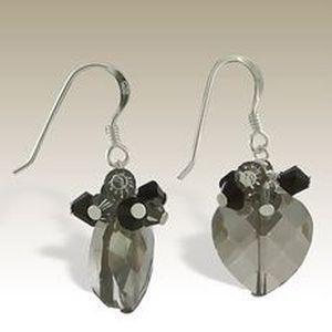 Handmade heart drop hook Earrings - Sterling Silver & Austrian Crystal Beads black. VALENTINES DAY.