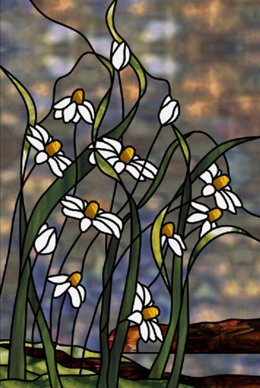 Floral stained glass                                                                                                                                                                                 Más #StainedGlassMosaic